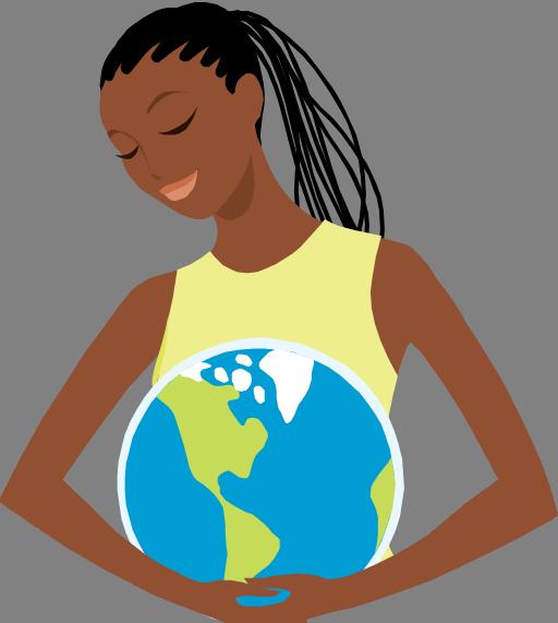 africa woman globe